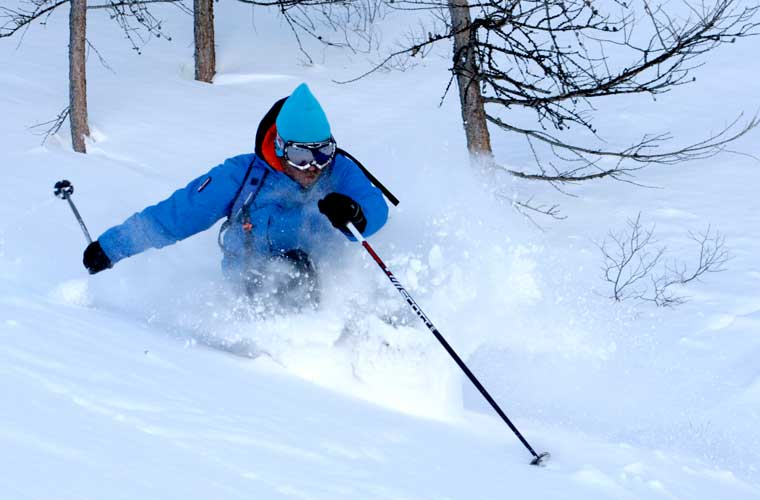 private off piste lesson in action image of