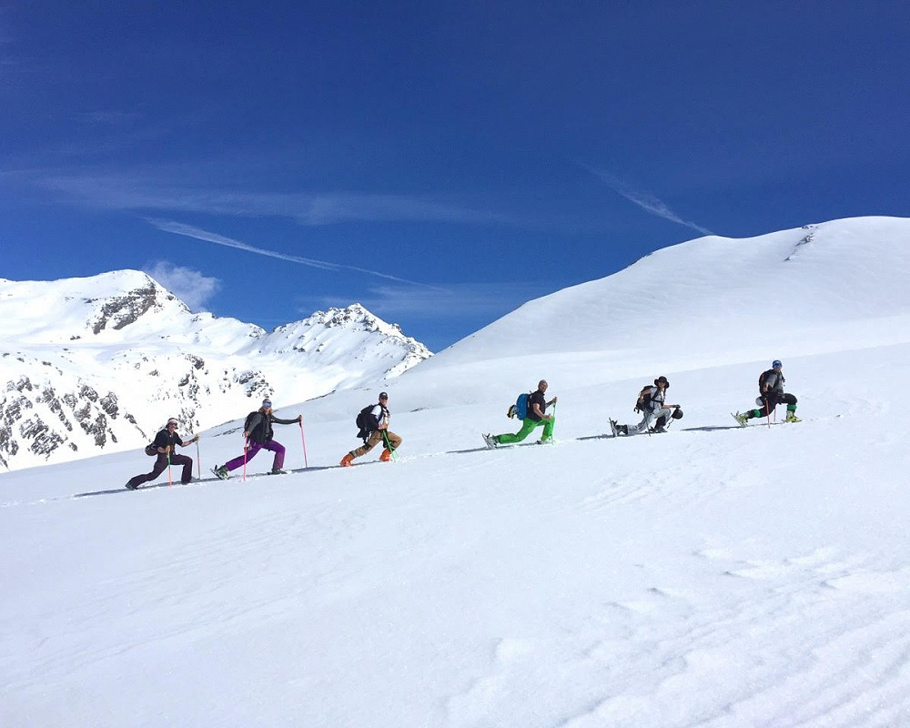 a group ski touring in val d'isere