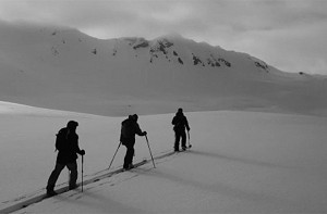 ski touring towards Mont Roup in Val d'Isere image of