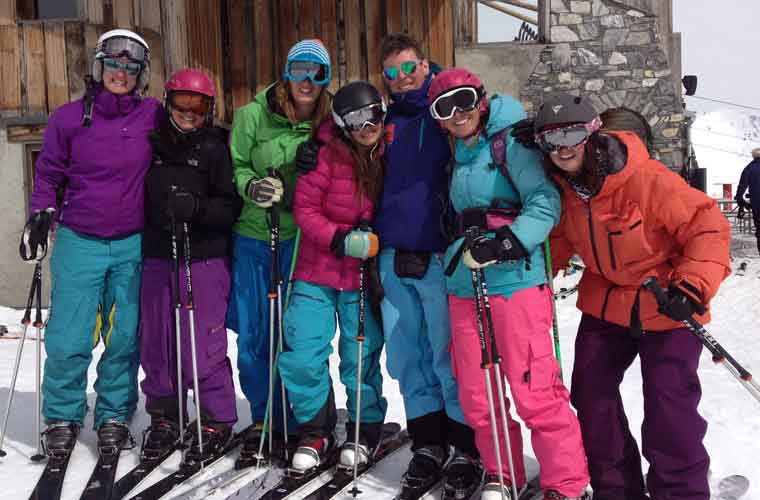 ski lesson in action in val d'isere image of