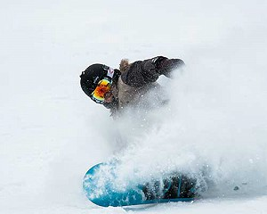 snowboarder in the val d'isere powder image of