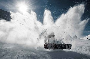 snowboard lesson in tignes in action image of